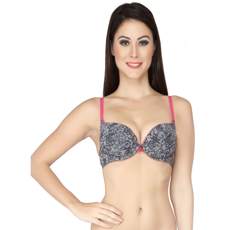 Medium Coverage Padded Wired Printed Plunge Push Up Bra - Lacy
