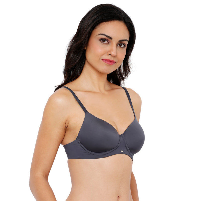Full Coverage Padded Non-Wired Bra - Grey