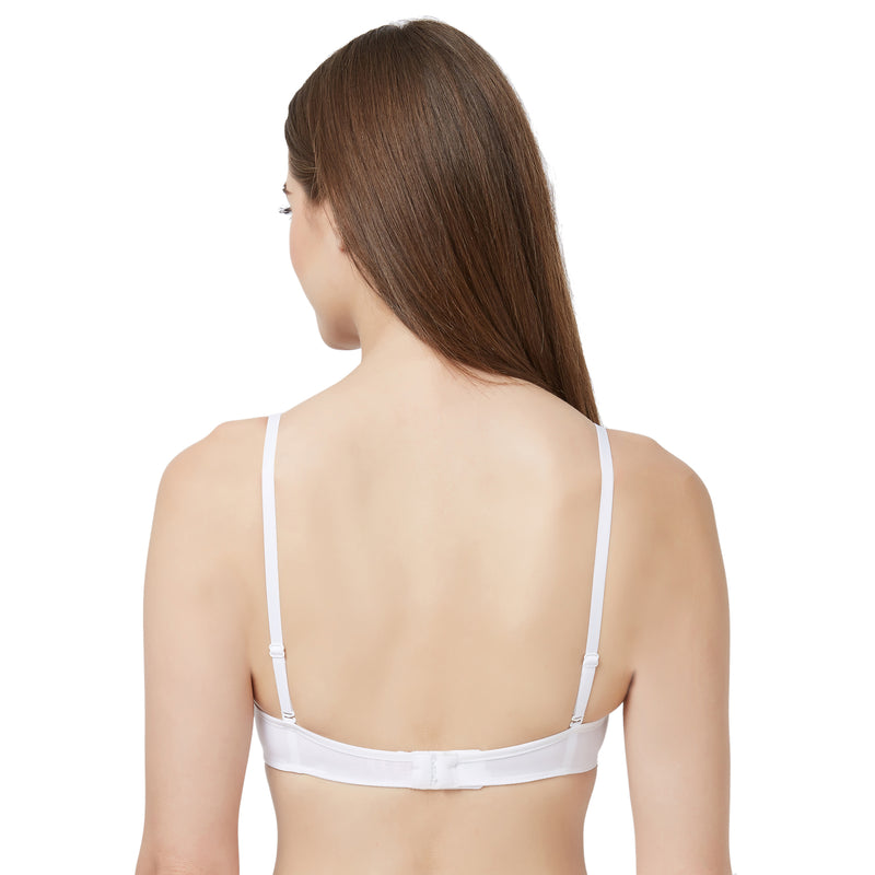 Medium Coverage, Padded, Wired, Balconette Multiway Bra - White