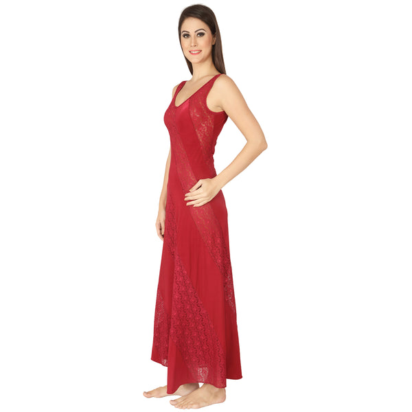 Ruby Lace Panelled Gown
