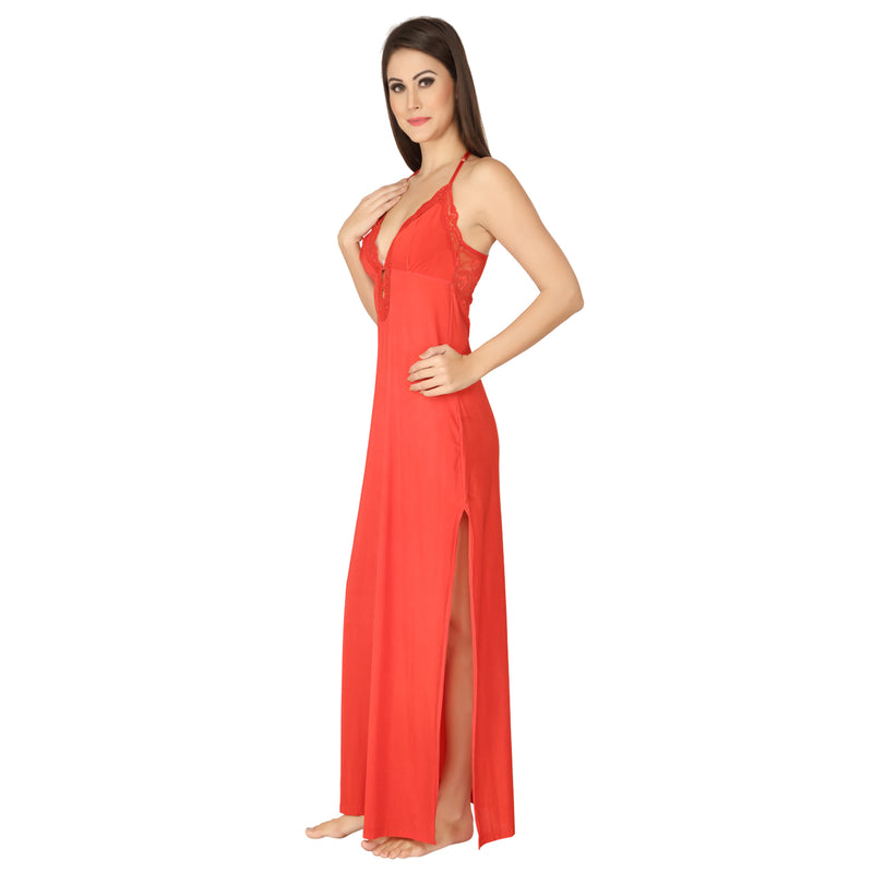 Halter Neck Nightgown with Slit