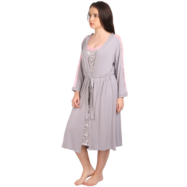 Knee Length Gown with Robe Set