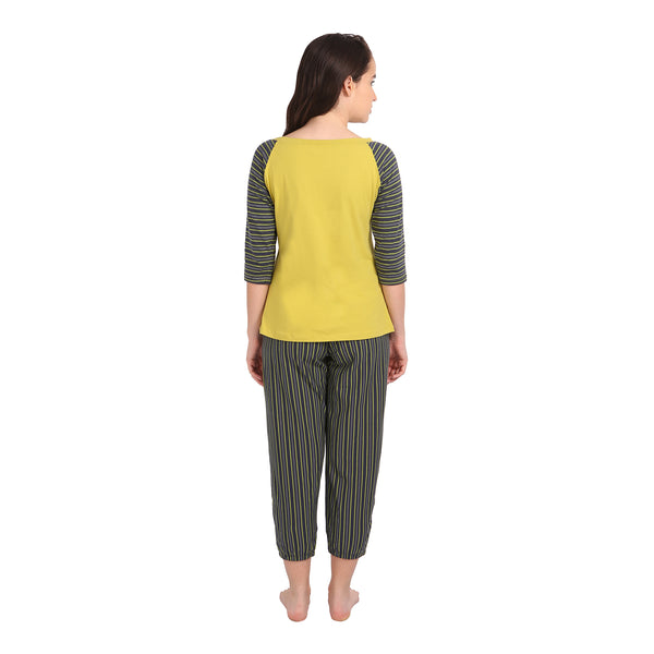 3/4 Raglan Sleeve Top and Capri Set