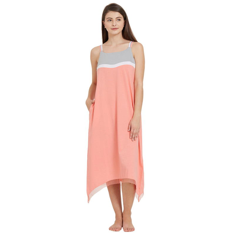3/4th Length Strappy Colour Blocked Nighty