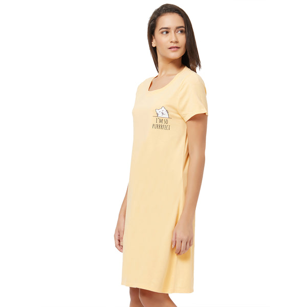 Half Sleeve Printed Sleepshirt Apricot-Cream-9