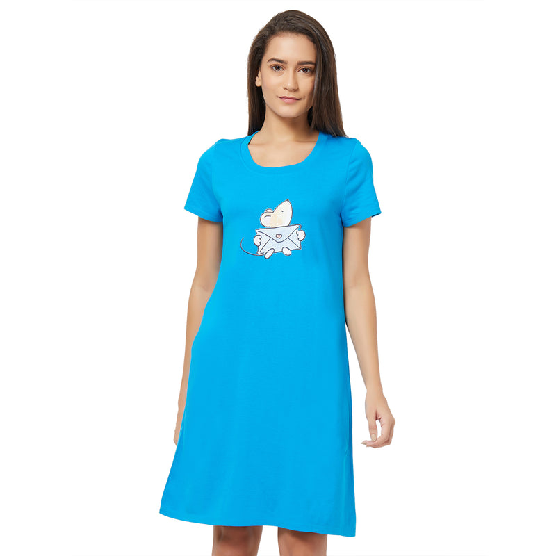 Half Sleeve Printed Sleepshirt Blue-Jewel-2