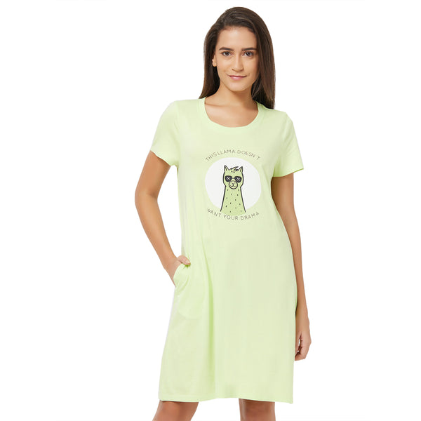 Half Sleeve Printed Sleepshirt Shadow-Lime-8