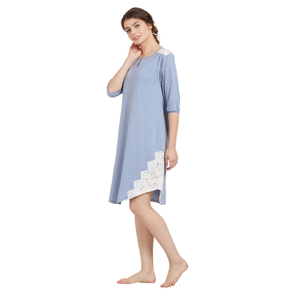 Laced Knee-Length Sleepshirt