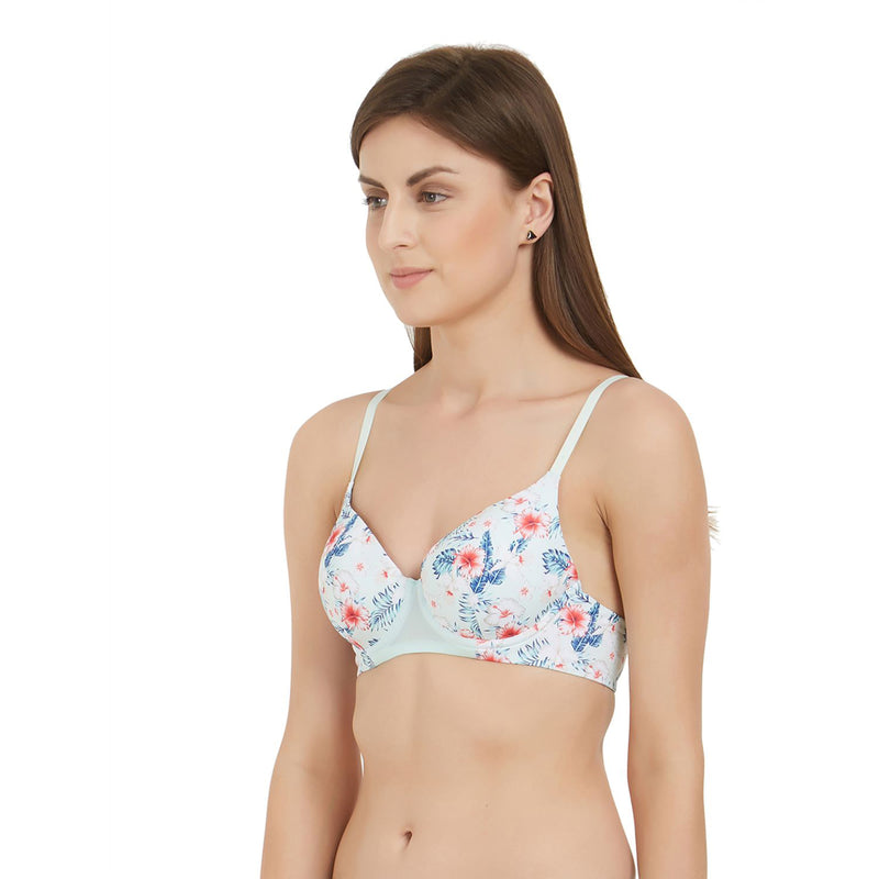 Medium Coverage Padded Wired Printed Bra - Tropical