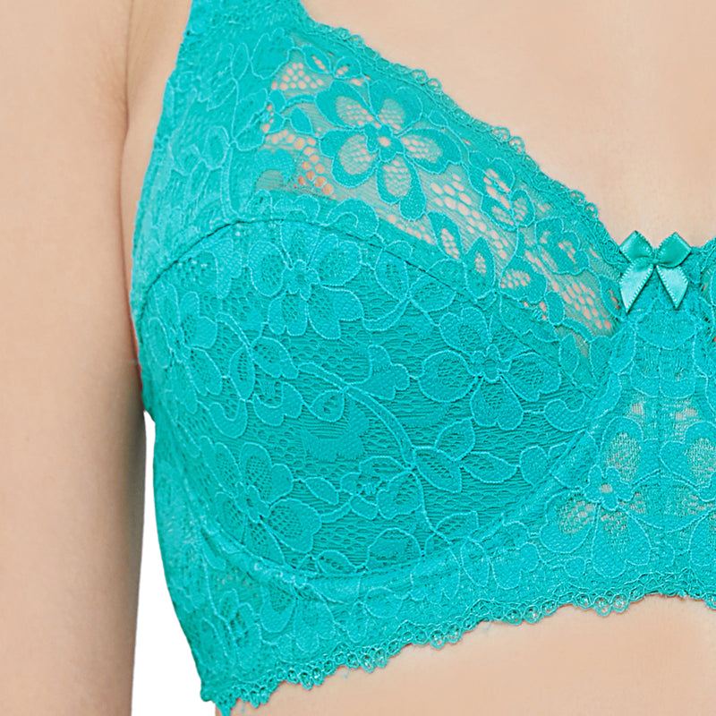 Full Coverage Non Padded Wired Lace Bra - Tropical Green