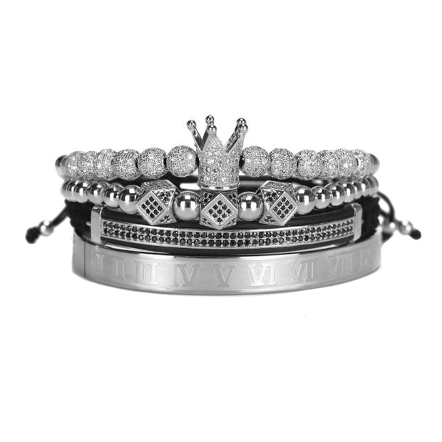 4pc Crown Mens Bracelet