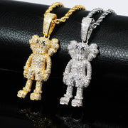 Iced Out Kaws Charm Pendant