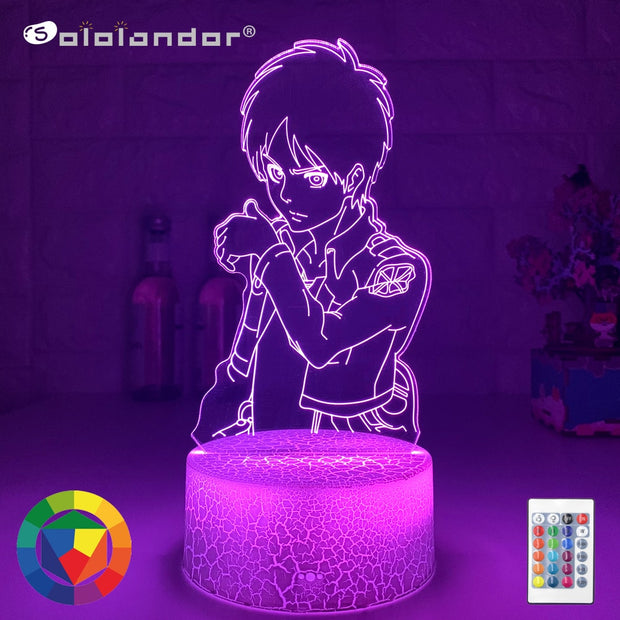 Acrylic 3d Led Night Light Eren Yeager Figure Bedroom Decor Nightlight Dropshipping Battery Powered Lamp Attack on Titan Gifts