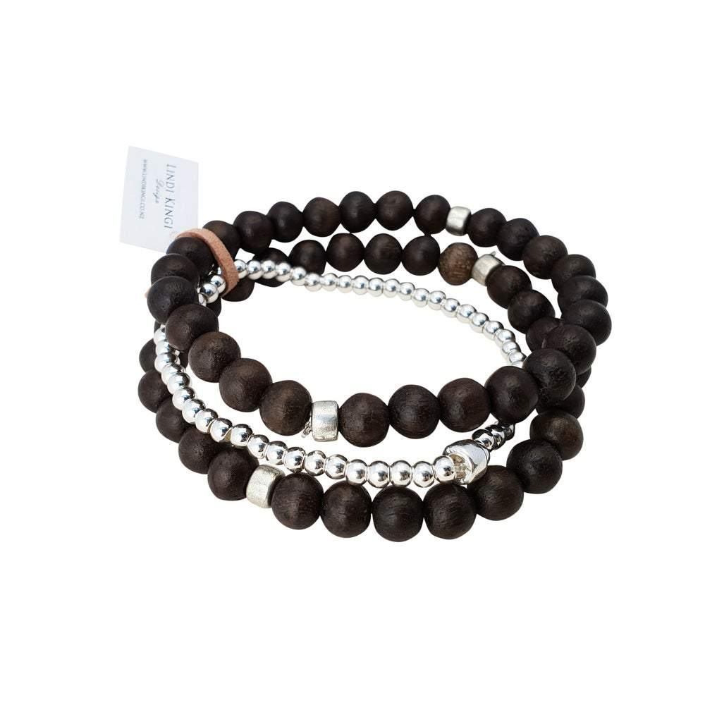 Triple Wooden Bracelet Set | Chocolate and Silver by Lindi Kingi Design shop online now