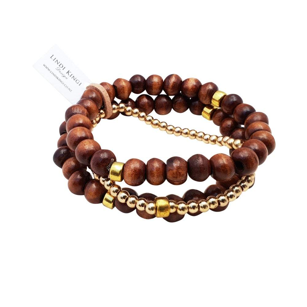 Triple Wooden Bracelet Set | Caramel and Gold by Lindi Kingi Design shop online now