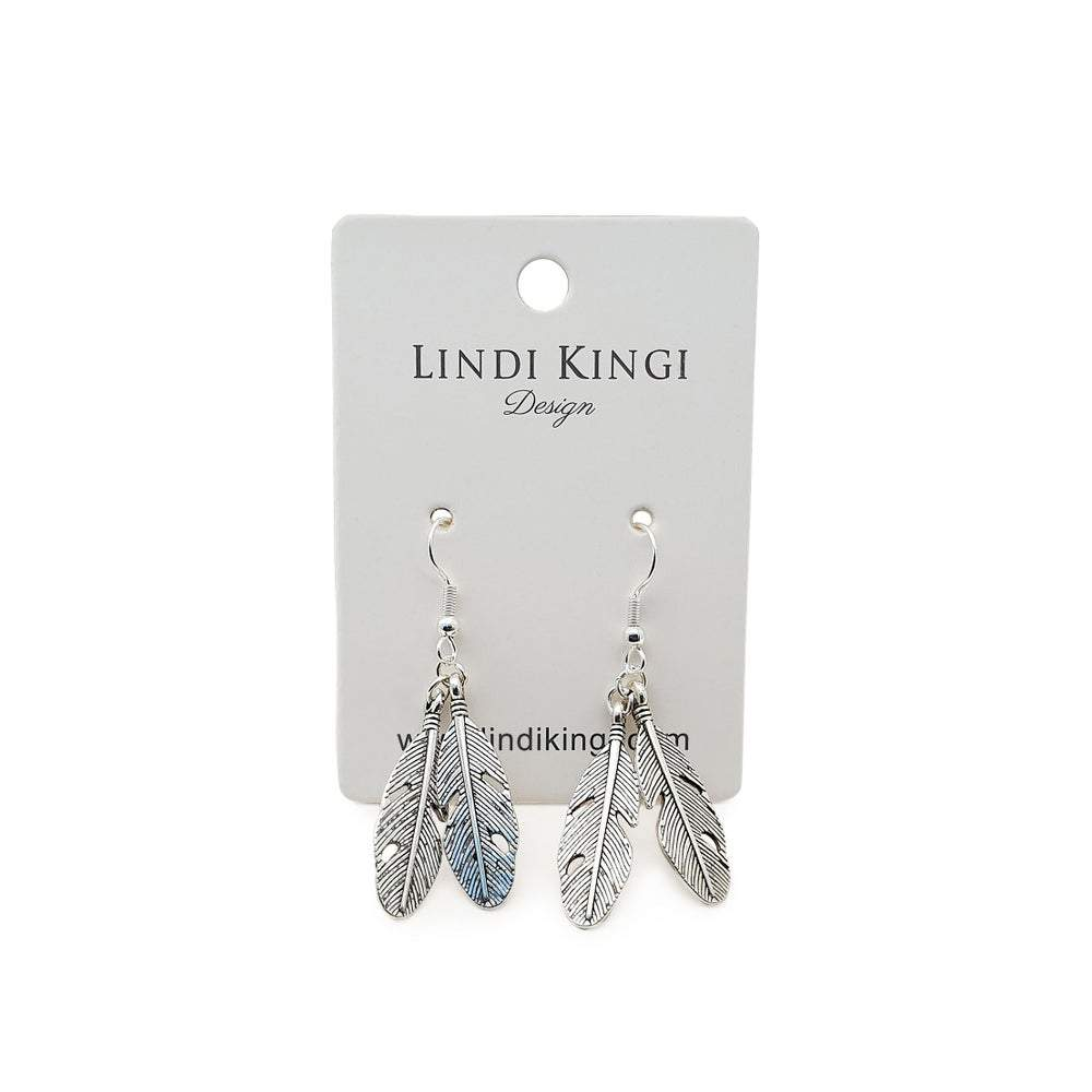 Double Feather Earrings | Silver by Lindi Kingi Design shop online now