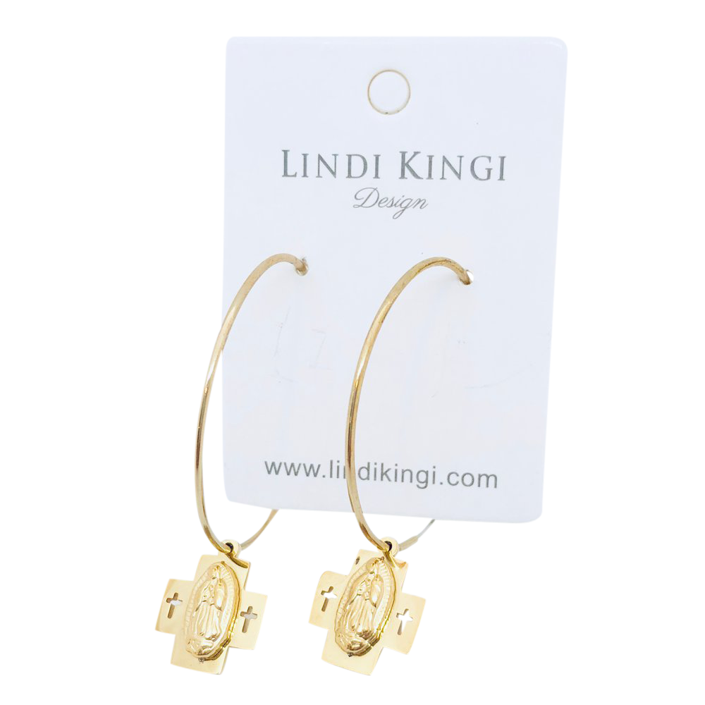 Double Cross Saint Hoops | Gold by Lindi Kingi Design shop online now