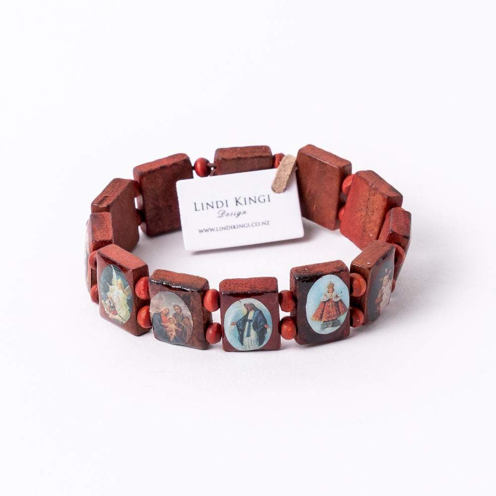 Wooden Saint Bracelet | Tan by Queen Of The Foxes shop online now