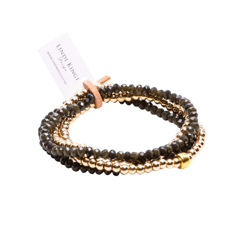 Beaded Bracelet Set | Olive & Gold by Lindi Kingi Design shop online now