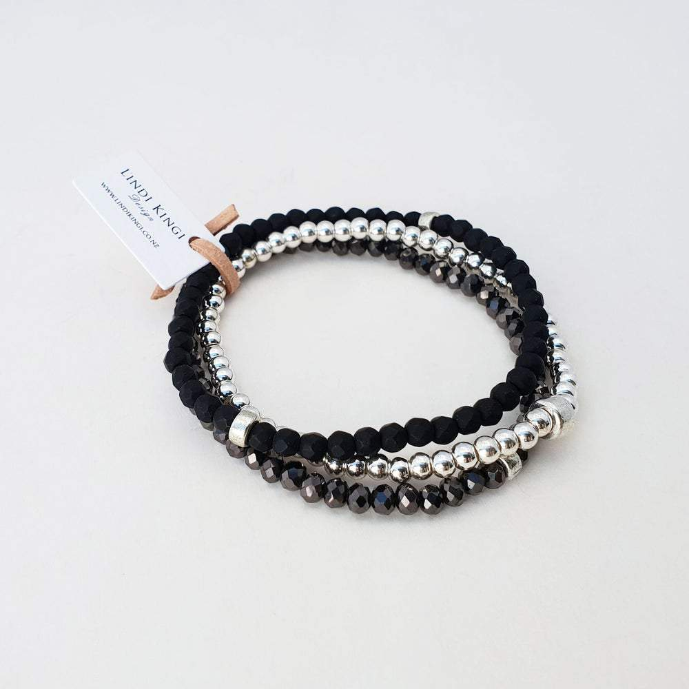 Beaded Bracelet Set | Matte Black & Silver by Lindi Kingi Design shop online now
