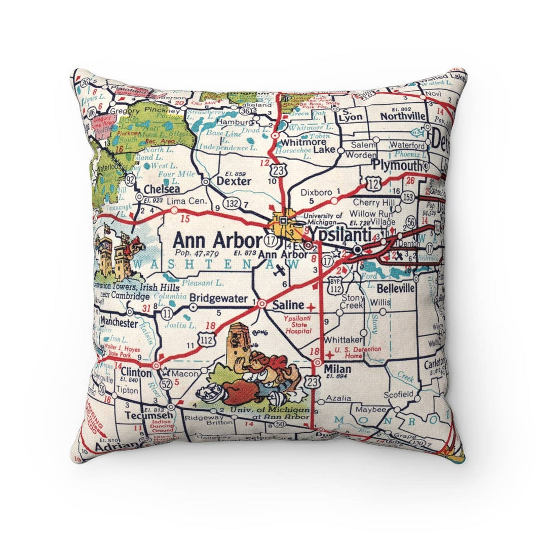 Daisy Mae Designs - Ann Arbor Michigan Map Pillow