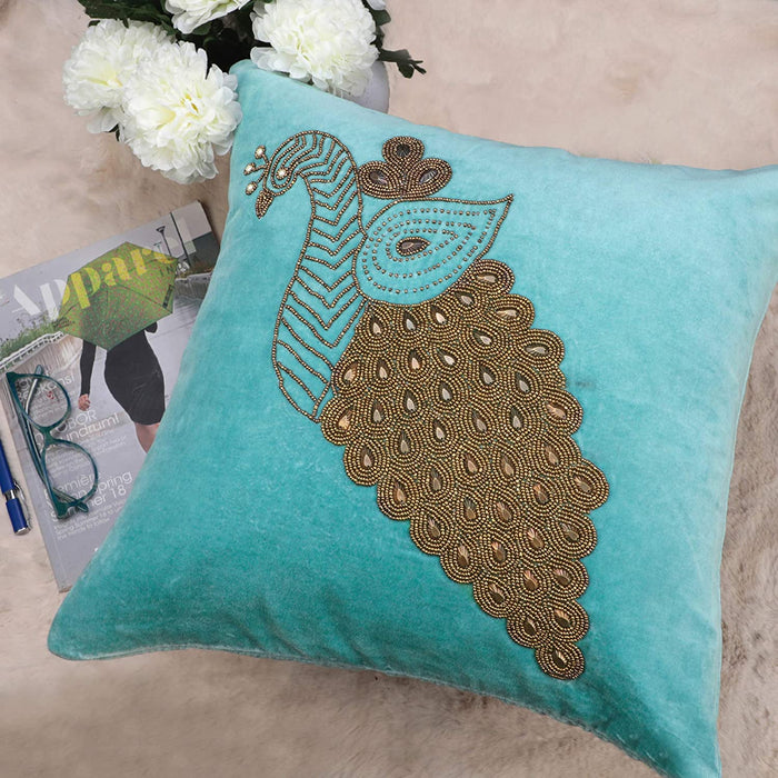 VIMOKSHA Soft Decorative Pillow Cover Indian Handmade Cotton Velvet Ethnic Cushion Covers Pillow Case Cover, Home Decor Decorations for Sofa Couch - Size 18x18 Inch - Peacock (Aqua Green, 1)