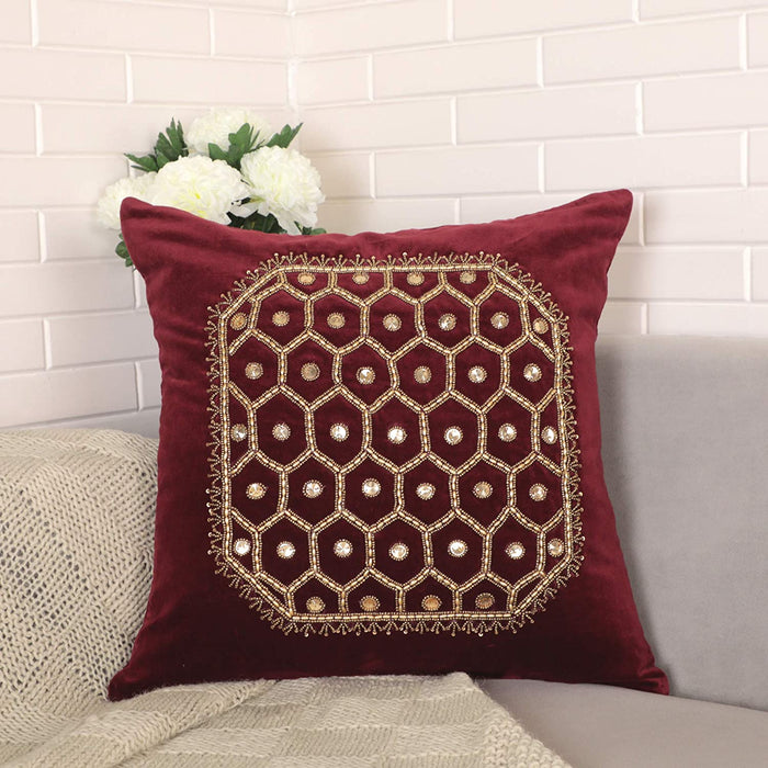 VIMOKSHA Soft Decorative Pillow Cover Indian Handmade Cotton Velvet Ethnic Cushion Covers Pillow Case Cover, Home Decor Decorations for Sofa Couch - Size 18x18 Inch - Square (Wine Red, 1)