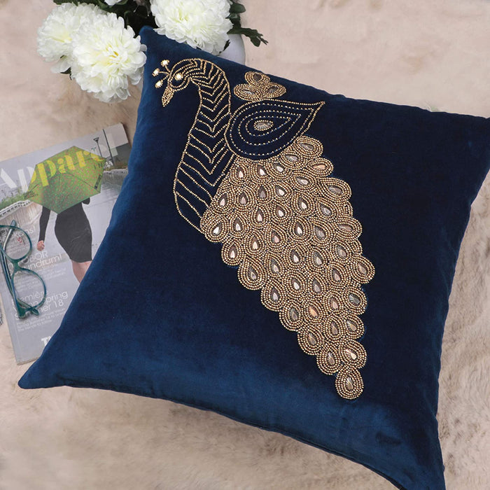 VIMOKSHA Soft Decorative Pillow Cover Indian Handmade Cotton Velvet Ethnic Cushion Covers Pillow Case Cover, Home Decor Decorations for Sofa Couch - Size 18x18 Inch - Peacock (Navy Blue, 1)