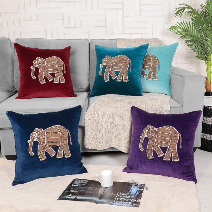 VIMOKSHA Soft Decorative Pillow Cover Indian Handmade Cotton Velvet Ethnic Cushion Covers Pillow Case Cover, Home Decor Decorations for Sofa Couch - Size 18x18 Inch - Elephant (Wine Red, 1)