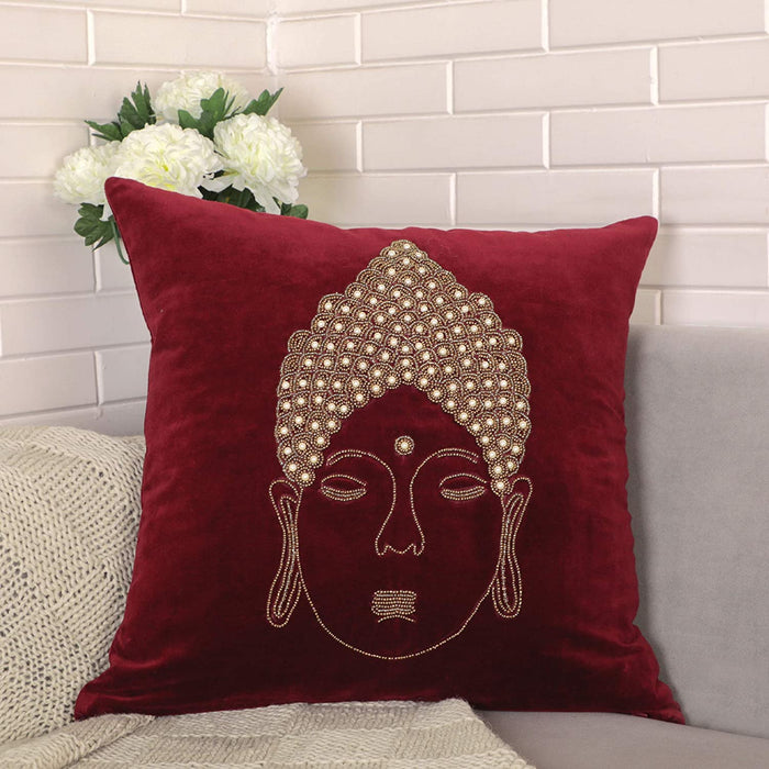 VIMOKSHA Soft Decorative Pillow Cover Indian Handmade Cotton Velvet Ethnic Cushion Covers Pillow Case Cover, Home Decor Decorations for Sofa Couch - Size 18x18 Inch Buddha (Wine Red, 1)