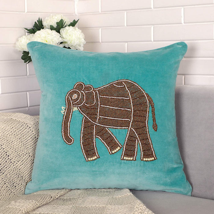 VIMOKSHA Soft Decorative Pillow Cover Indian Handmade Cotton Velvet Ethnic Cushion Covers Pillow Case Cover, Home Decor Decorations for Sofa Couch - Size 18x18 Inch - Elephant (Aqua Green, 1)