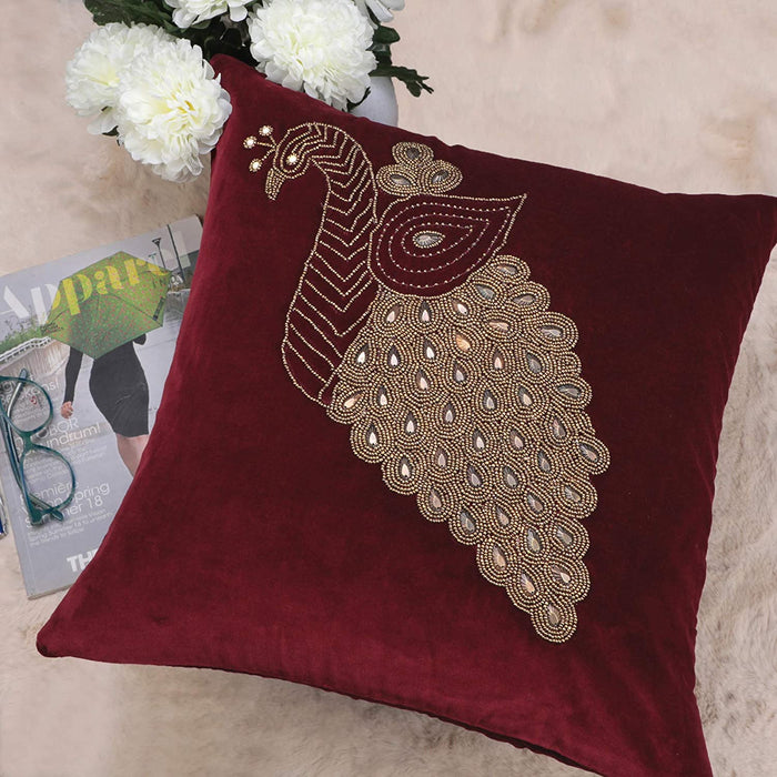 VIMOKSHA Soft Decorative Pillow Cover Indian Handmade Cotton Velvet Ethnic Cushion Covers Pillow Case Cover, Home Decor Decorations for Sofa Couch - Size 18x18 Inch - Peacock (Wine Red, 1)