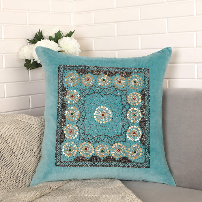 VIMOKSHA Soft Decorative Pillow Cover Indian Handmade Cotton Velvet Ethnic Cushion Covers Pillow Case Cover, Home Decor Decorations for Sofa Couch - Size 18x18 Inch - Rangoli (Aqua Green, 1)