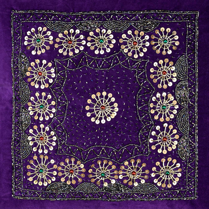 VIMOKSHA Soft Decorative Pillow Cover Indian Handmade Cotton Velvet Ethnic Cushion Covers Pillow Case Cover, Home Decor Decorations for Sofa Couch - Size 18x18 Inch - Rangoli (Purple, 1)