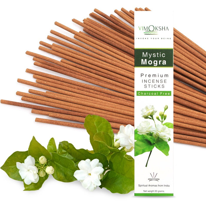 VIMOKSHA Luxury Premium Incense Sticks Made with Traditional Ingredients Low Smoke 20 Grams - Mystic Mogra
