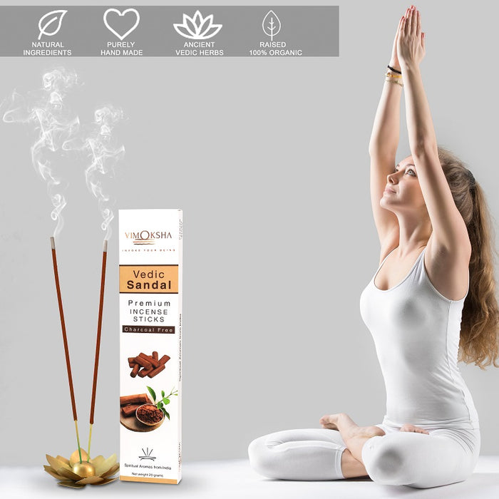 VIMOKSHA Luxury Premium Incense Sticks Made with Traditional Ingredients Low Smoke 20 Grams - Vedic Sandal