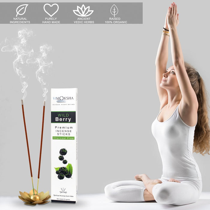 VIMOKSHA Luxury Premium Incense Sticks Made with Traditional Ingredients Low Smoke 20 Grams - Wild Berry