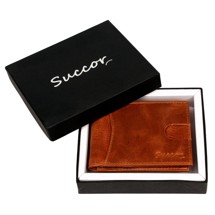 Succor RFID Wallets for Men Bifold Slim Wallet - Soft Genuine Hunter Leather