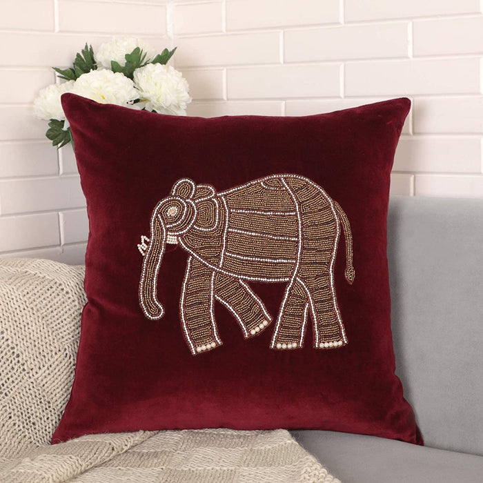 VIMOKSHA Soft Decorative Pillow Cover Indian Handmade Cotton Velvet Ethnic Cushion Covers Pillow Case Cover, Home Decor Decorations for Sofa Couch - Size 18x18 Inch - Elephant (Teal, 1)