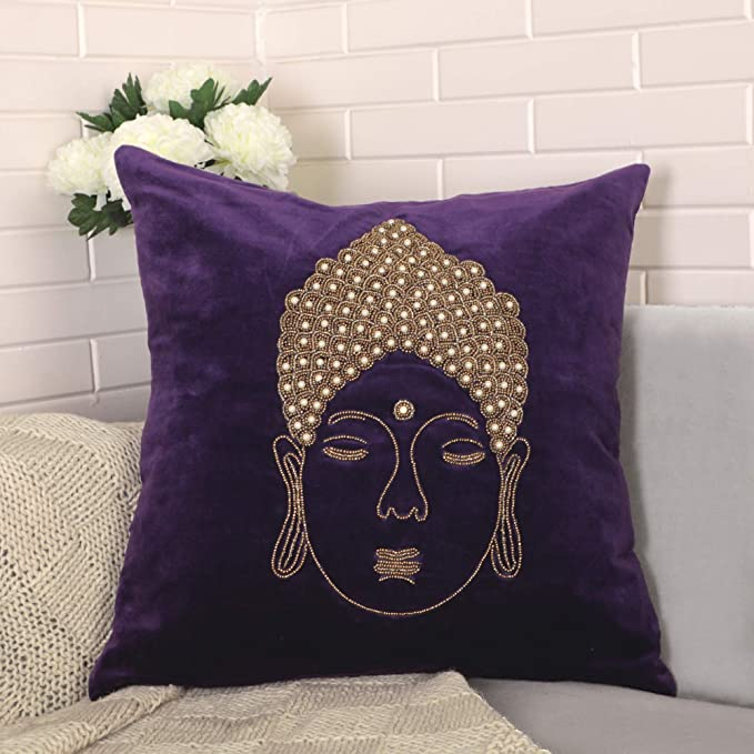 VIMOKSHA Soft Decorative Pillow Cover Indian Handmade Cotton Velvet Ethnic Cushion Covers Pillow Case Cover, Home Decor Decorations for Sofa Couch - Size 18x18 Inch Buddha (Teal, 1)