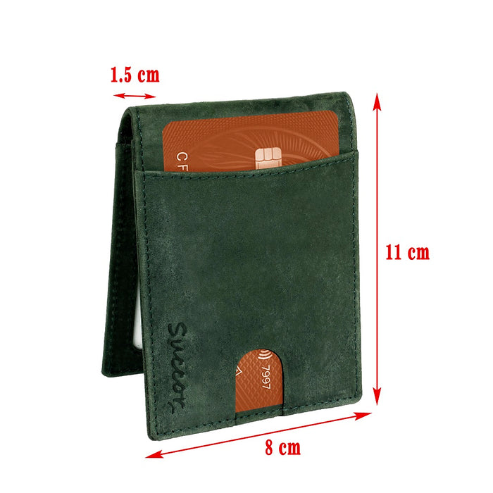Succor RFID Wallets for Men Bifold Slim Wallet - Soft Genuine Leather (Green Hunter)
