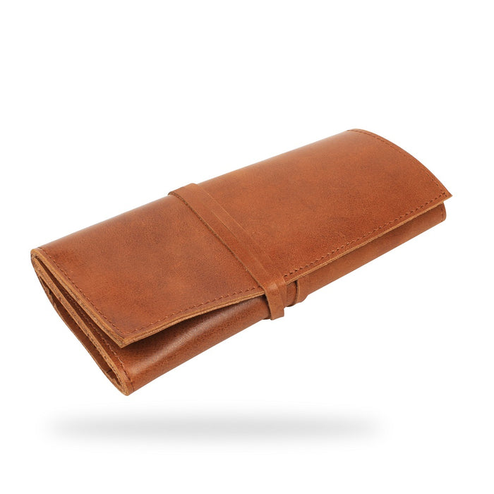 VIMOKSHA Genuine Leather Pen & Pencil Case Holder Roll Wrap Bag Pouch for Stationery - Brown