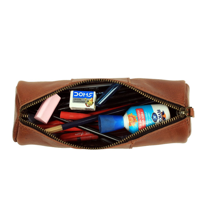VIMOKSHA Genuine Leather Pen & Pencil Pouch for School, Work & Office (Brown)