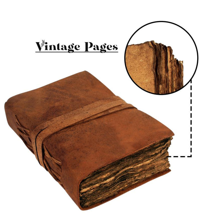 "Premium Handmade Vintage Genuine Leather Journal Deckle Edge Paper - Antique Handmade Leather Bound Daily Notepad, Best Gift for Art Sketchbook - Size 9.5""x6"" (Inches)"