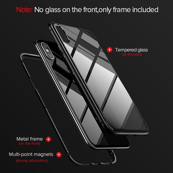 Metal Magnetic Case + Tempered Glass  Magnet Case Cover For iPhone, Samsung