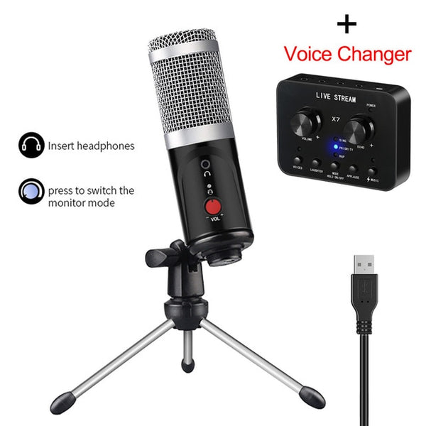 Condenser Microphone With Tripod USB