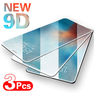 New 9D Full Cover Protective Glass For iPhone - 3Pcs
