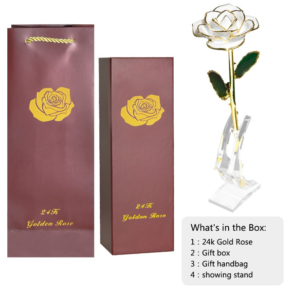 Forever Love 24k Gold Dipped Rose with Stand