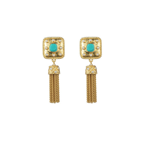 Winona Earrings Turquoise & Freshwater Pearls