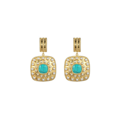 Renata Earrings Turquoise & Freshwater Pearls